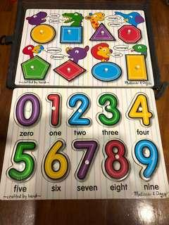 🚚 Melissa & Doug Alphabet & shapes peg wooden puzzle