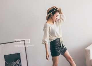 🚚 (全新免運)斜開口不規則皮褲裙