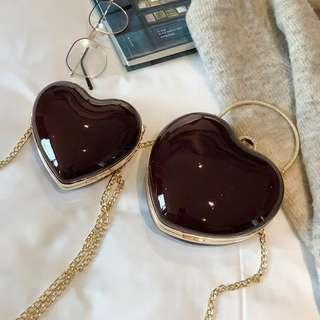 <P.O> Chic Heart Shape Clutch Sling Chain Messenger Bag