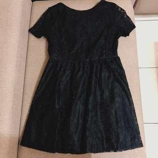 🚚 全新🌸韓版黑色蕾絲洋裝👗L號