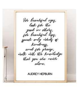 Audrey Hepburn Wall Art Bedroom Decoration Inspirational Quote Poster Sign Birthday Gift