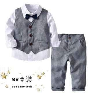 🚚 白色長袖襯衫領結背心長褲四件套