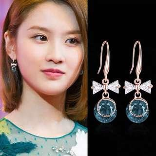 <free post 3 pairs & above> Korean design blue crystal earrings with ribbon