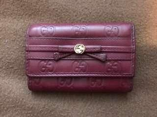 Gucci key holder coin bag with bill compartment gussiccima dark red 散紙包連鎖匙包