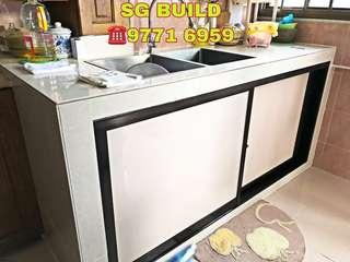 Kitchen table top and aluminium door for 5ft