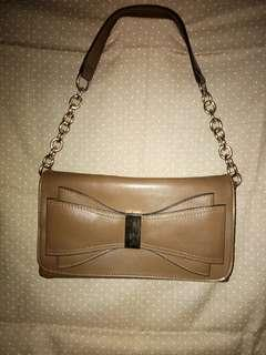 Huer shoulder bag coklat kulit, elegan klasik