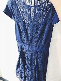 blue lace mid dress