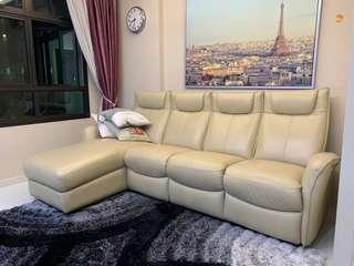 Half Calf leather sofa with 3 electrical recliner seats