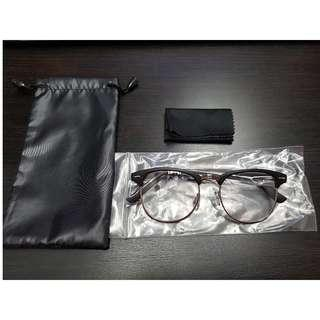 New Matte Black New Vintage Clubmaster Eyewear Glasses Clear Lens with Silver Rim