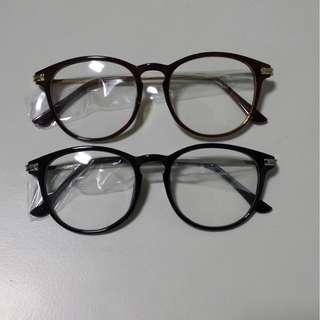 🚚 Retro Glossy Black Brown with Gold Silver Grip Rod Frame Spectacle Glasses Clear Lens