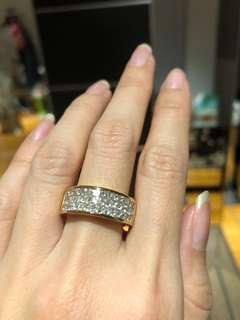 3 carat VS princess cut invisible setting 18k solid gold BLING RING!