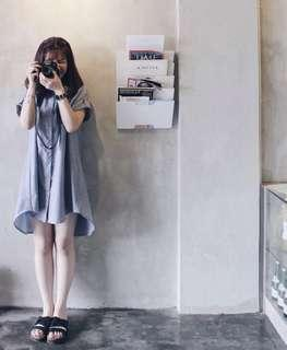 Shirtdress Blue Grey