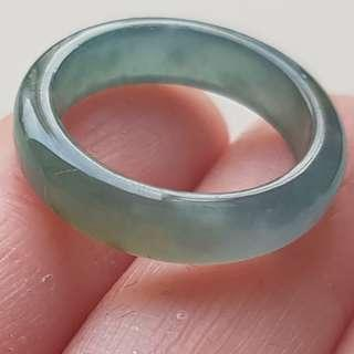 16mm Certified Type A Icy Jadeite Ring Ice Yellow Blue Water Jade