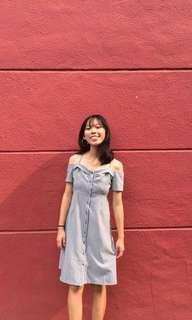 blue striped off shoulder dress
