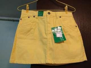 100% New UNITED COLORS OF BENETTON 黃色牛仔裙 Yellow Skirt