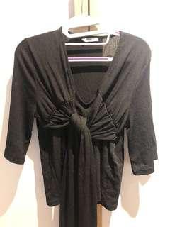 Zara black ribbon top