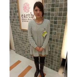 🚚 earth music &ecology 粉藍綠亮線傘襬毛衣 針織衫