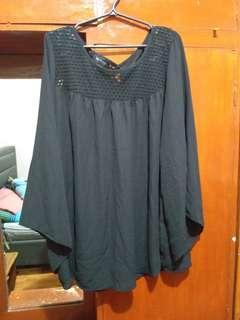 Plus size Black Chiffon top