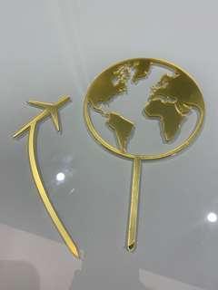 蛋糕插牌 cake topper 金色 銀色 地球 飛機 環遊世界 生日插版 farewell 啞加力膠