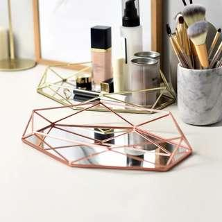 Rose gold mirror glass tray 27.5 cm