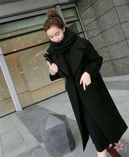 Korean Women Autumn Winter Long Wool Coat Jacket