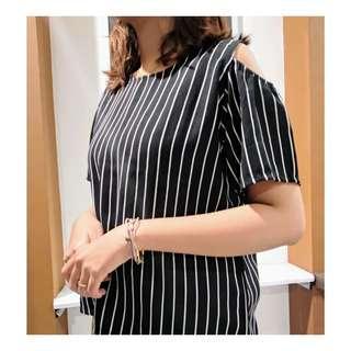 Preloved baju kemeja dress blouse wanita cewek hitam stripes murah korean vintage bohemian casual formal kerja kantor