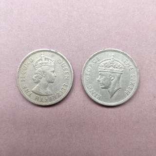 1951, 1958年香港伍毫硬幣各一, 共兩個(包郵)