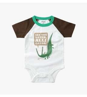 小鱷魚棉質短袖包屁衣