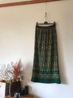 Vintage壓紋百褶長裙
