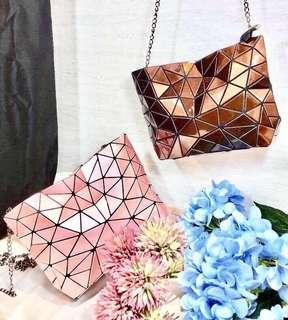 玫瑰金幾何菱格造型鏈條包