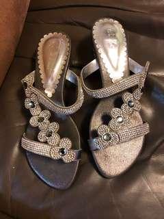 花花閃鑽水晶涼鞋 bling bling flower sandals