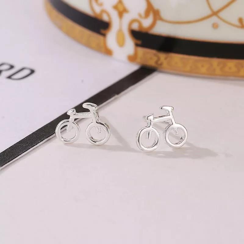 簡約 自行車 單車 線條 鏤空 耳環