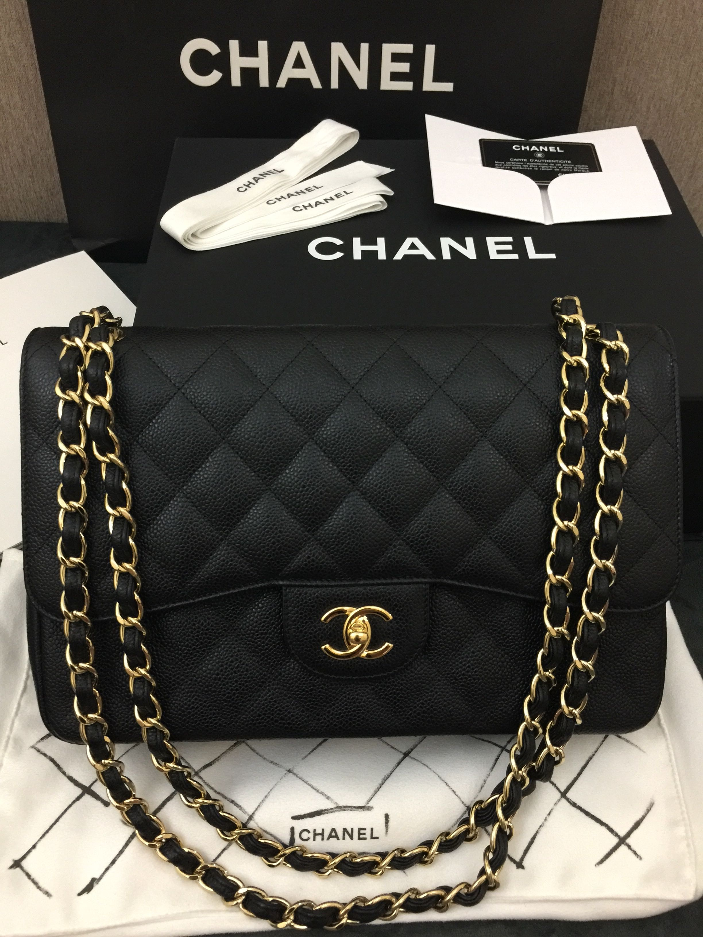 0ad77ceb2c72db Authentic CHANEL Jumbo Caviar Double Flap Bag in Black GHW FULL SET ...