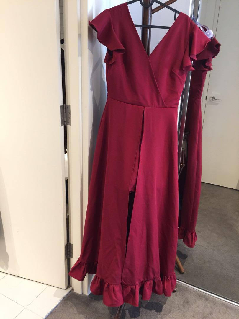 Bnwt red long dress with short pants M sexy and stylish