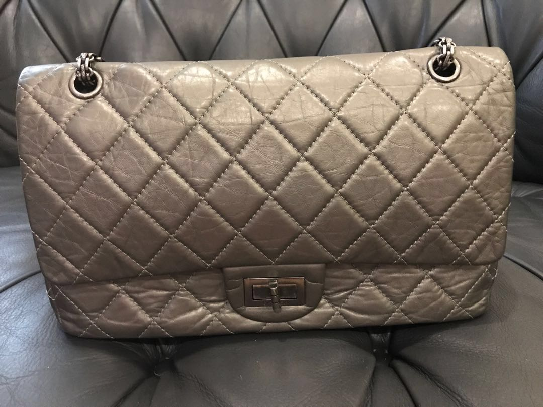 52f4f8b18538 Chanel 2.55 reissue Silver / grey bag, Luxury, Bags & Wallets, Sling ...