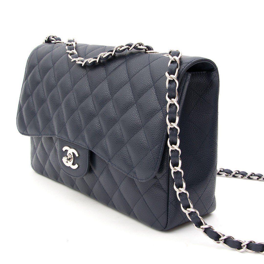 37ae6d617fea Chanel Jumbo Navy Caviar SHW, Luxury, Bags & Wallets, Handbags on ...