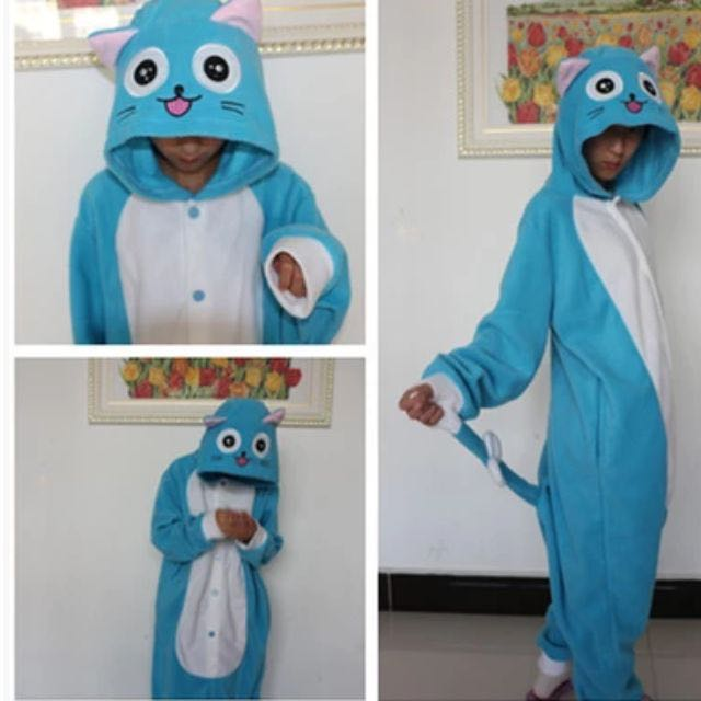 8207ca12a59b Happy from Fairy Tail onesie adult pajamas PREORDER ONLY