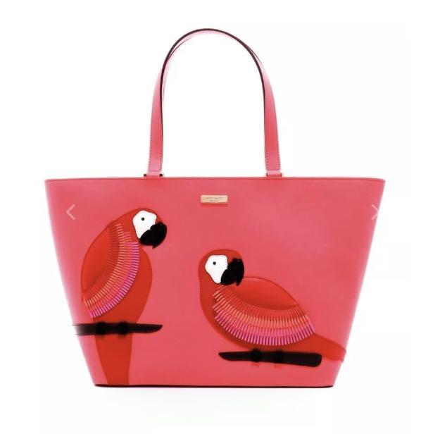 Kate Spade Parrot bird Talk The Talk Jules large Tote bag 100% Cow Leather pink