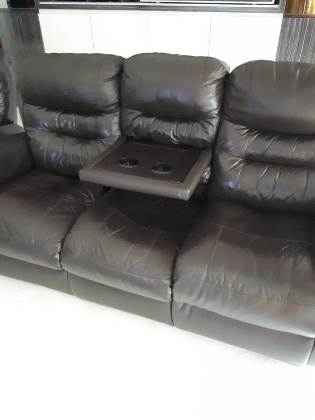 Leather Recliner Sofa 3 1 Furniture Sofas On Carousell
