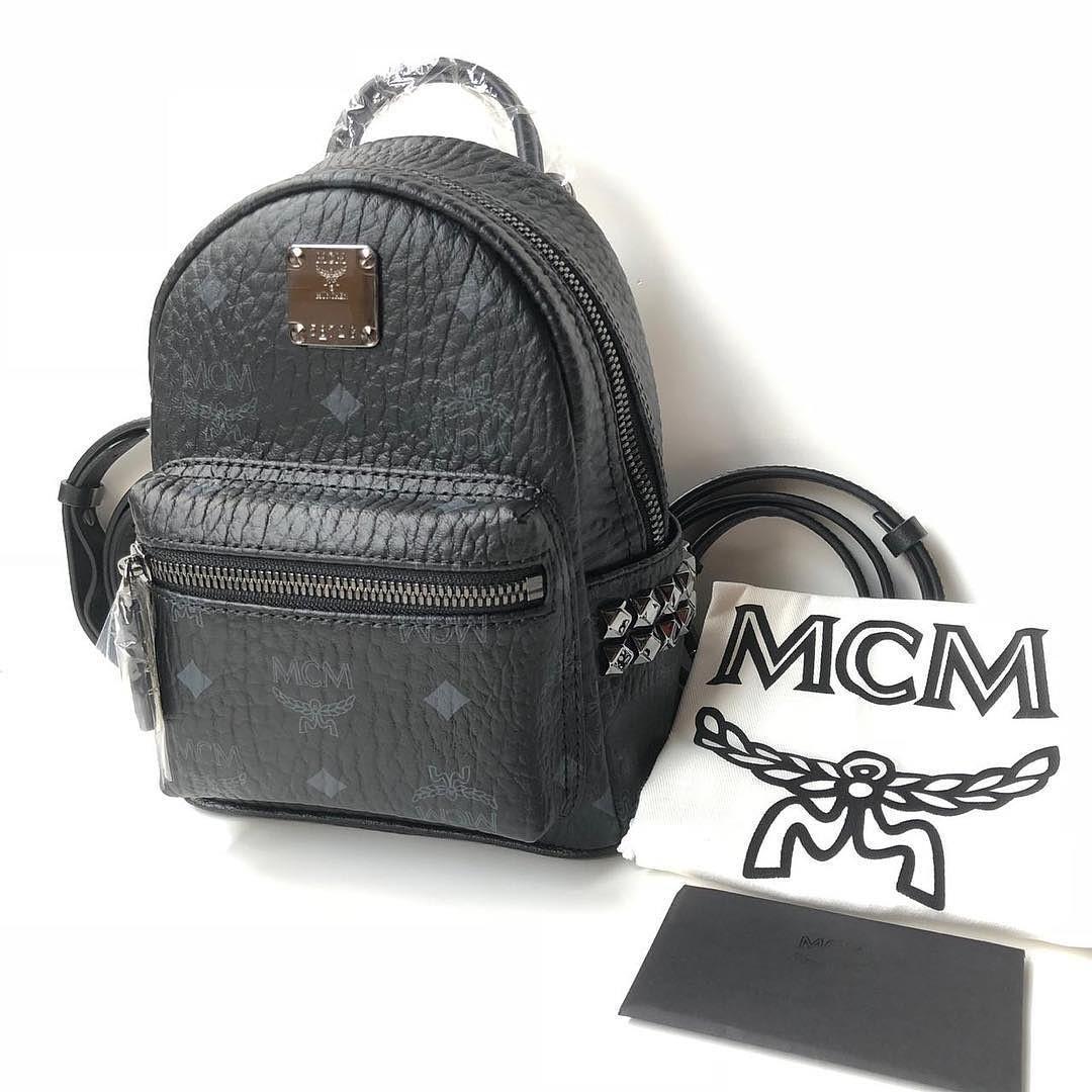 MCM Stark Bebe Boo Backpack Visetos Side Studs X-Mini (Black) Size 20x17x8cm