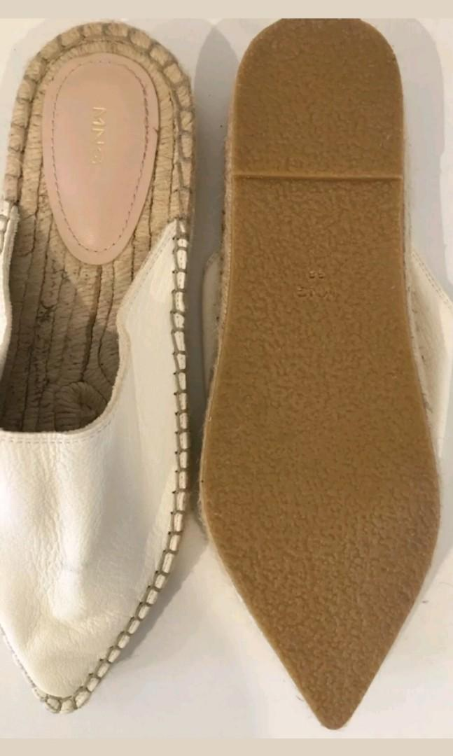 MNG faux leather espadrille mules slides flats - NEW - Sz 38
