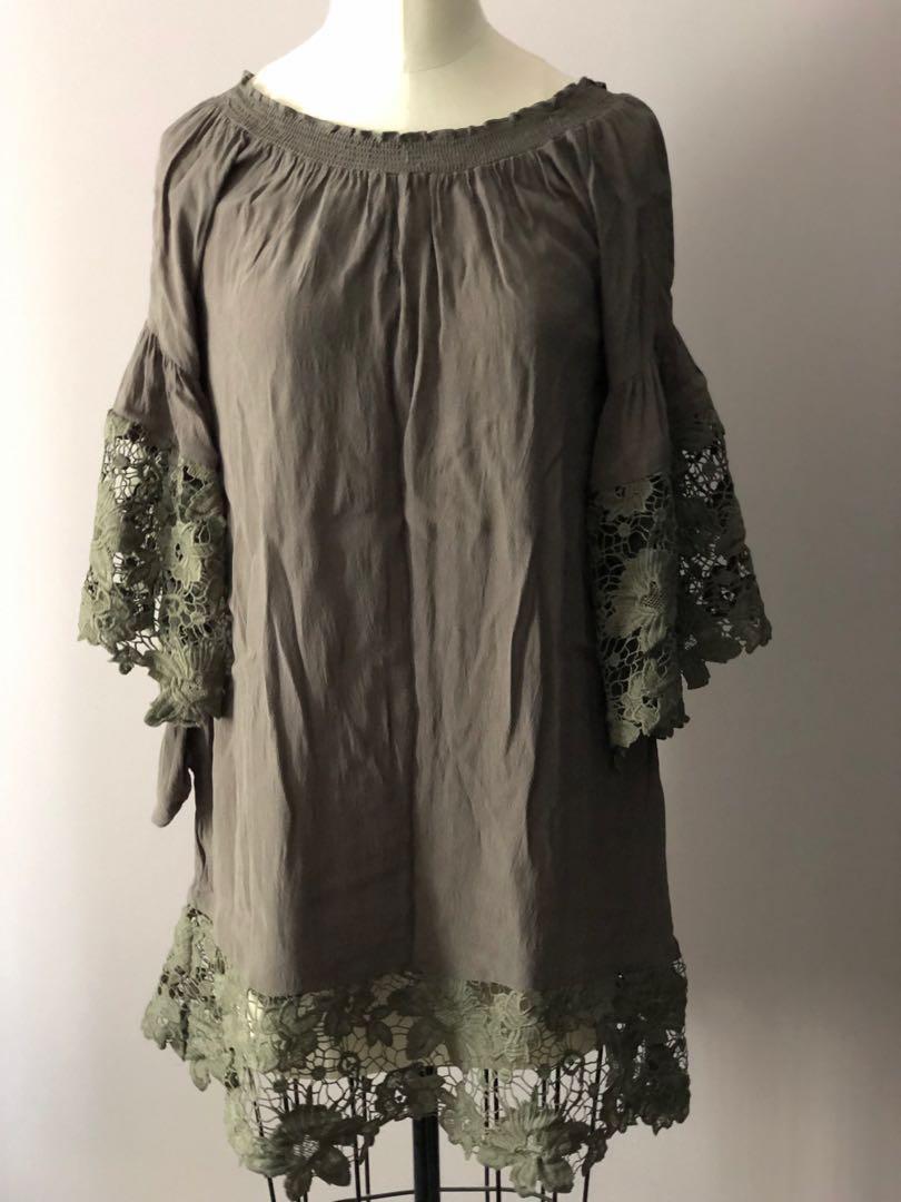 Muche et Muchette Venus lace dress - olive green, O/S