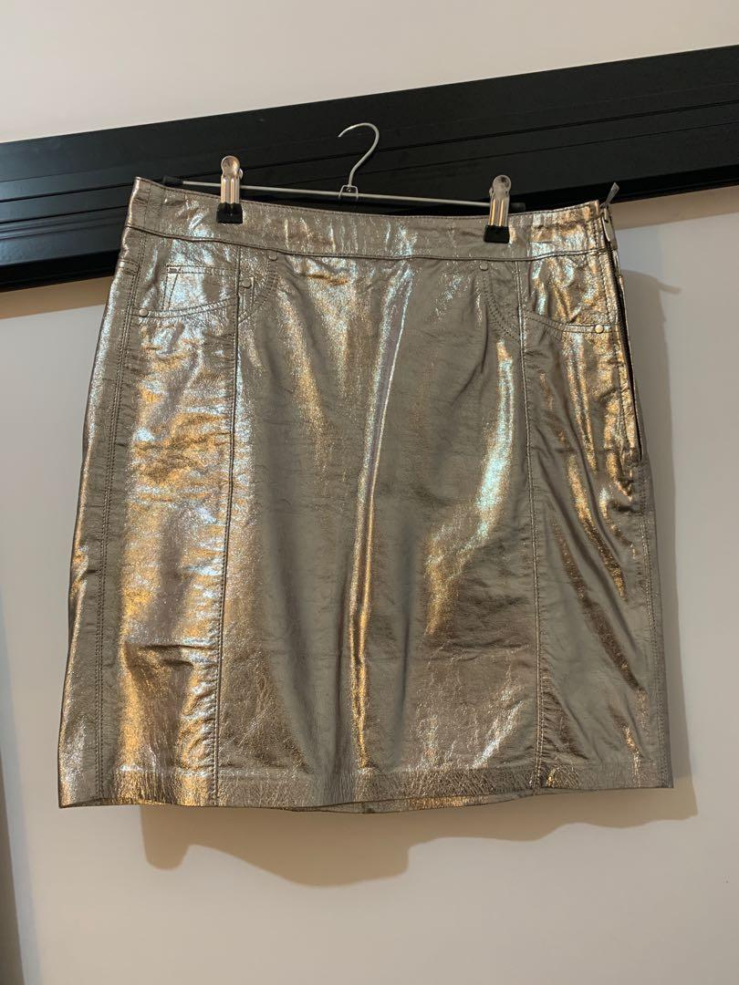 NEW Real leather silver mini skirt *RRP $169 (fits 10-12)