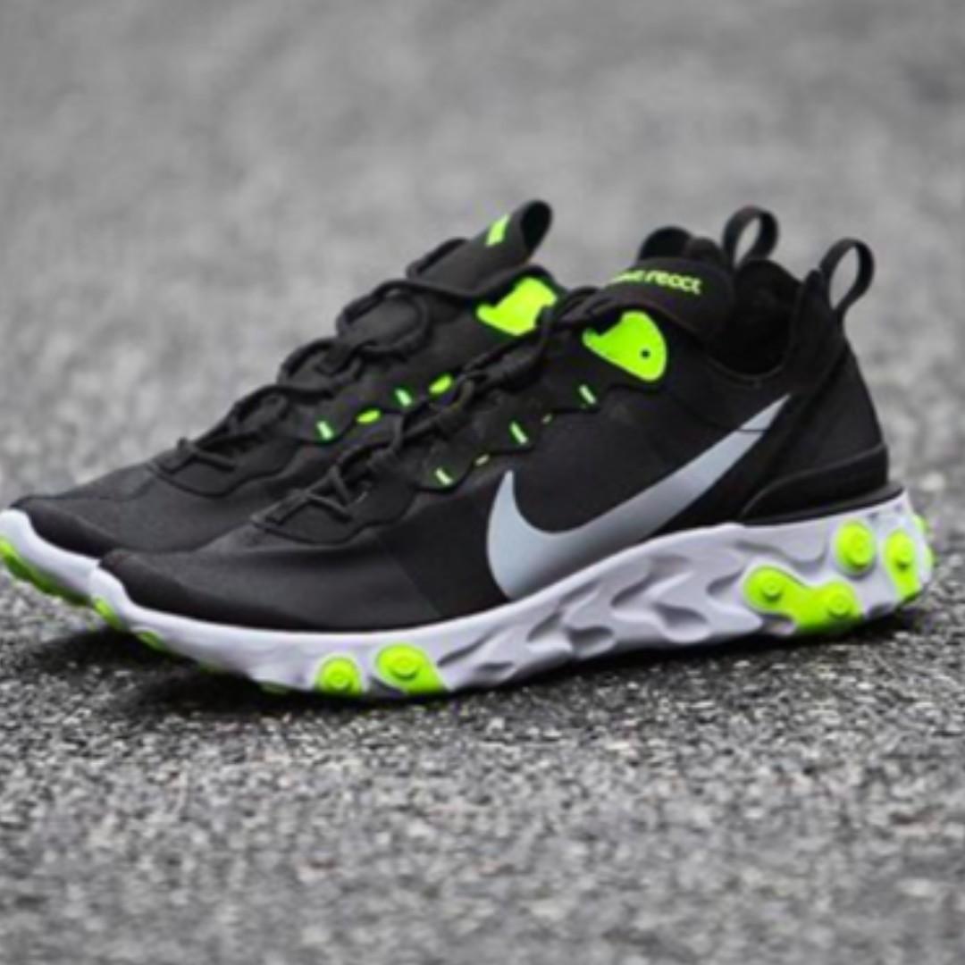 Nike React Element 55 Black/Volt Men's Sizes US 7 8