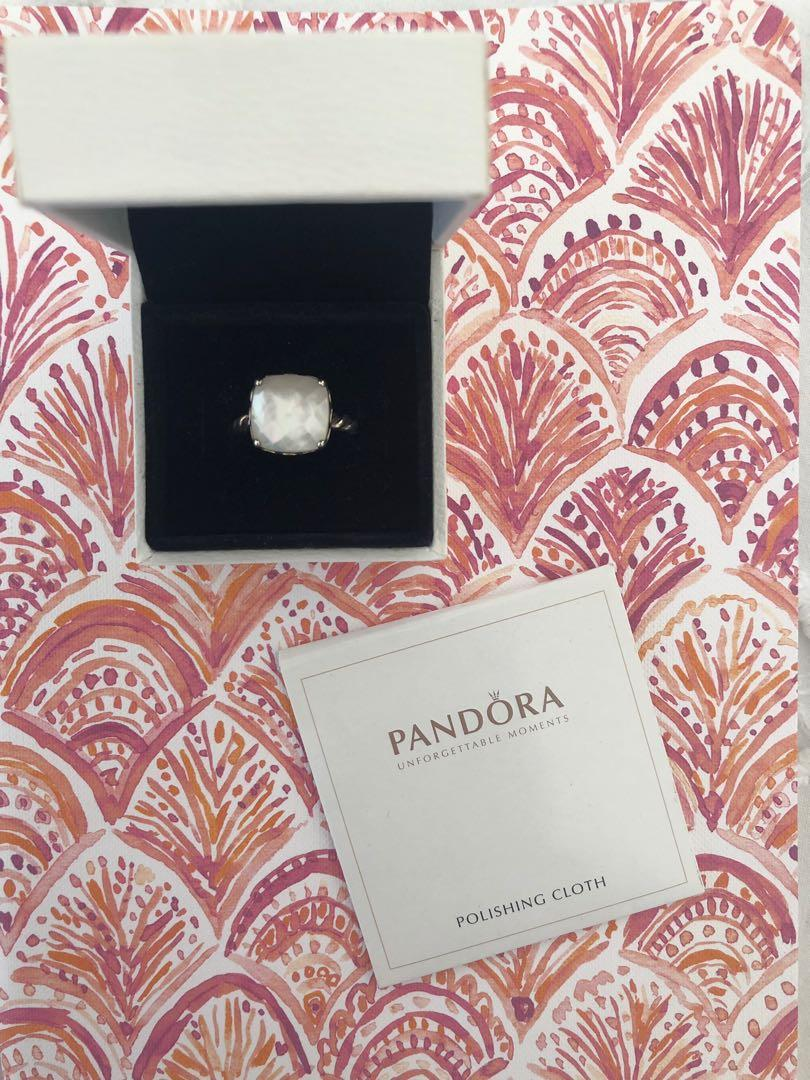 Pandora 925 Sterling Silver and Mother of Pearl Ring Size 52