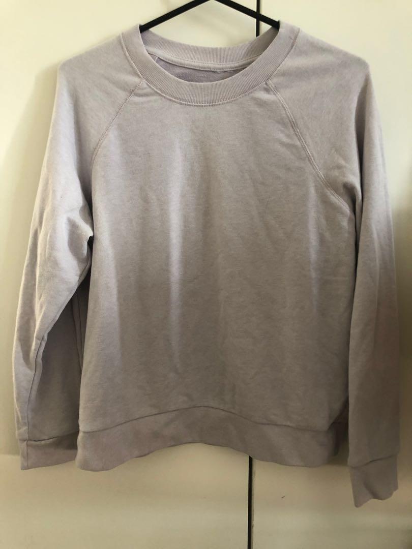 Pastel Lilac Purple Plain Jumper Sweatshirt Sweater