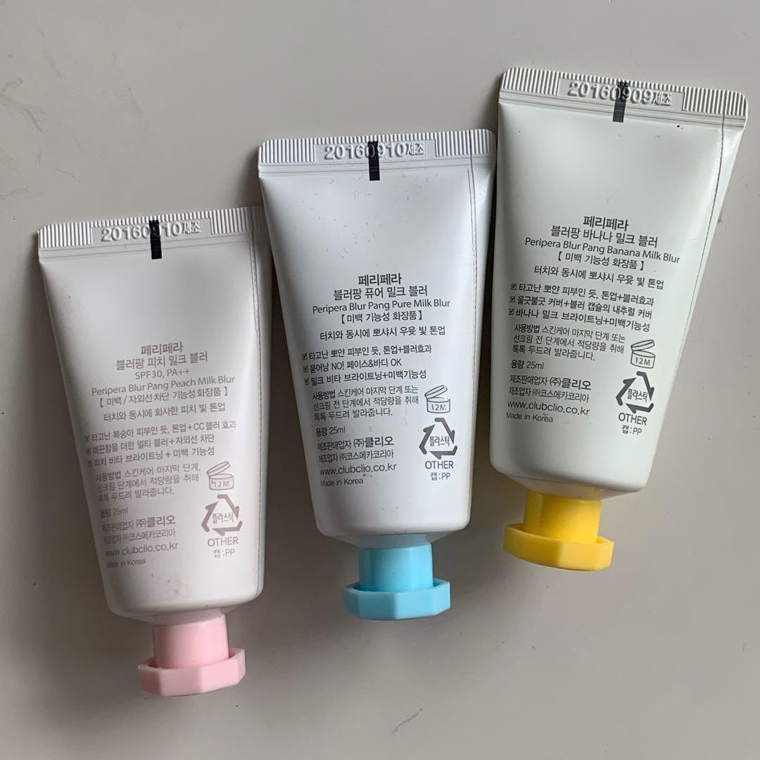 Peripera Blur Bang Milk Blur Makeup/Skincare Base Bundle