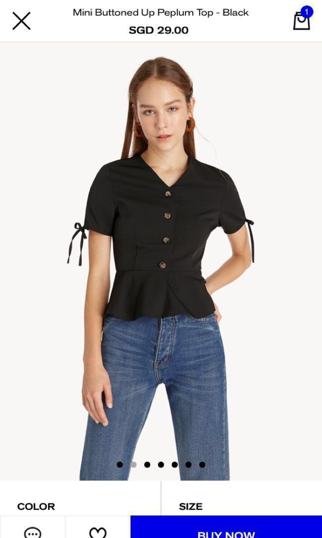 ad5213c72 Pomelo button up blouse, Women's Fashion, Clothes, Tops on Carousell