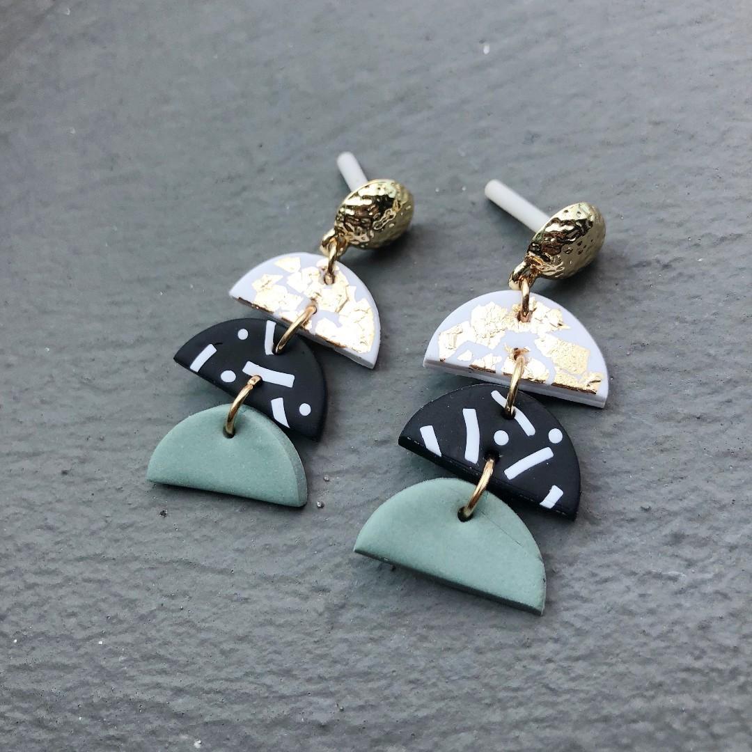 Sage Stud Pack  Handmade Clay Earrings