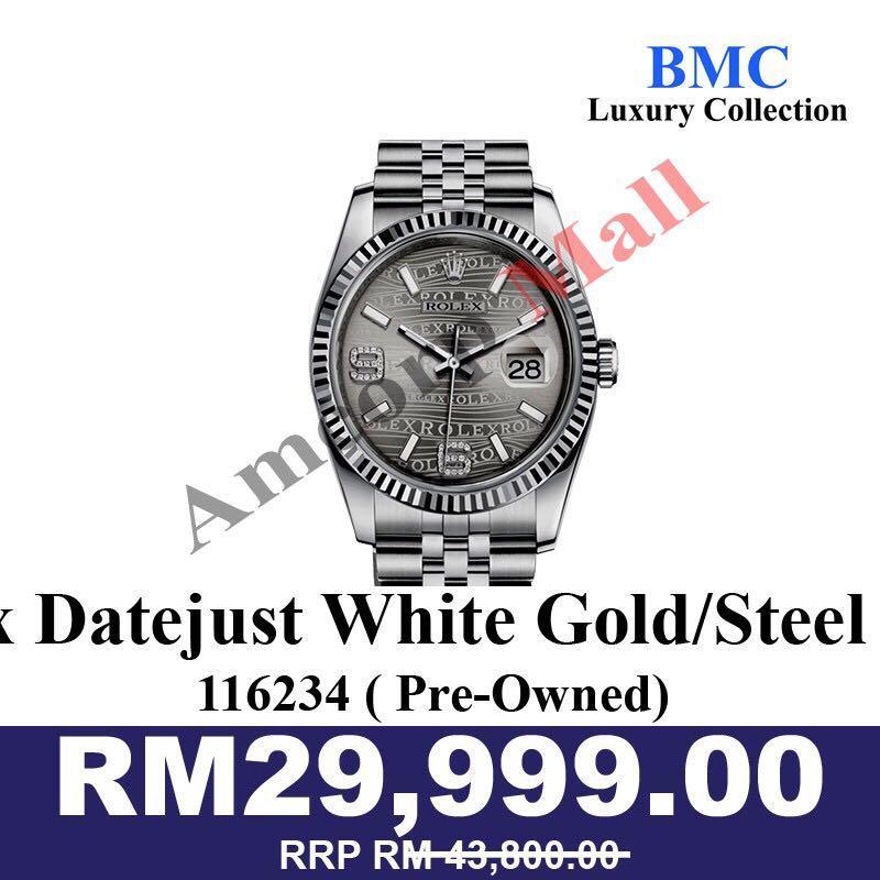 Rolex Datejust 36 White Gold/Steel Rhodium Waves Diamond Dial & Fluted Bezel Jubilee Bracelet 116234